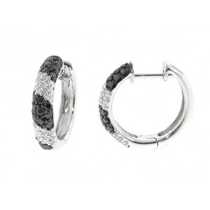 14K Black and White Diamond Hoops