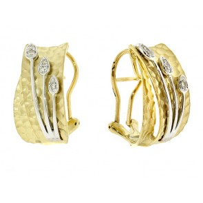 14K Hammered Gold Diamond Earrings