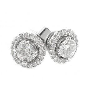 18K Round Diamond Stud Earrings, 0.75ct TW