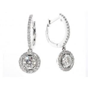 18K Diamond Solitaire Hoop Earrings