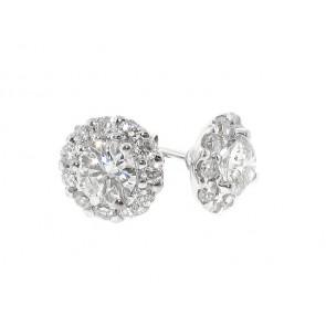 18K Round Diamond Stud Earrings, 1.10ct TW