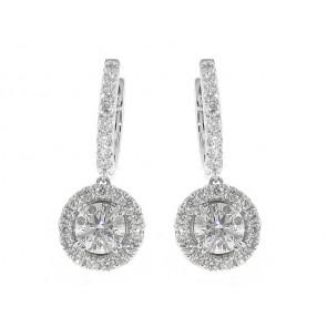 18K Diamond Hoop Stud Earrings, 2.29ct TW