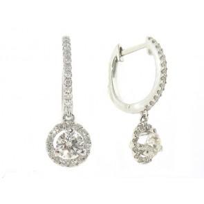 18K Diamond Solitaire Hoop Pendants
