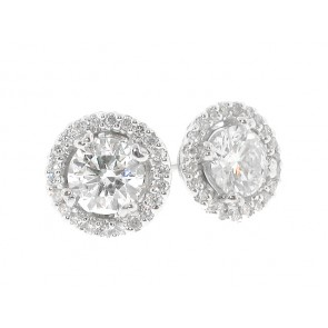 18K Diamond Stud Earrings, 0.91ct