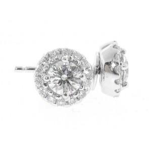 18K Round Diamond Stud Earrings, 0.81ct TW