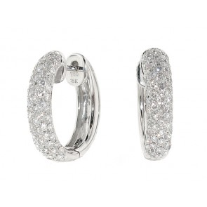 1.19ct Pave Set Diamond Hoop Earrings