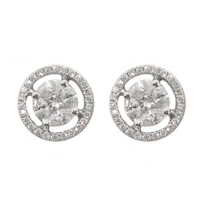 Cluster Set Diamond Halo Style Stud Earrings