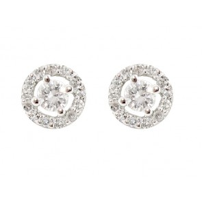 Diamond Stud Earrings with Halo Pave Diamonds