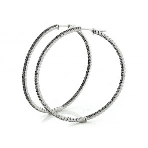 14K Black Diamond Hoop Earrings