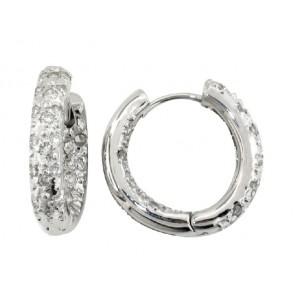 14K Pave Diamond Huggie Earrings