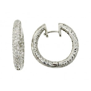 18K Pave Diamond Hoop Earrings