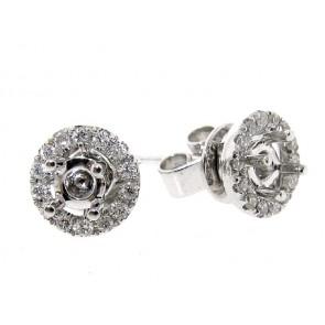 18K Diamond Stud Halo Earring