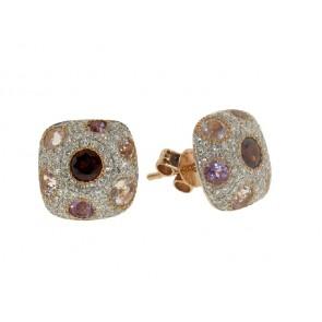 Diamond, Topaz and Garnet Earrings