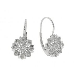 .13ct Antique Floral Diamond Earrings