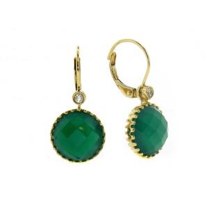 Green Agate and Diamond Earrings