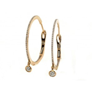 14K Rose Gold .43CT Hoop Earrings