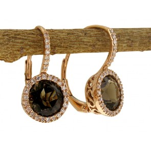 Smokey Quartz and Diamond Earrings