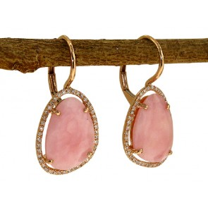 Pink Onyx and Diamond Earrings