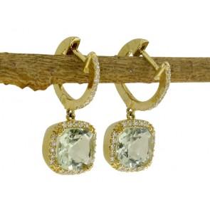 Green Amethyst and Diamond Earrings