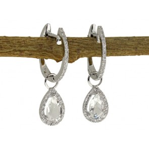0.78ct White Topaz and Diamond Earrings