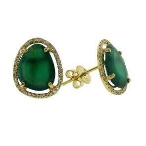 3.22ct Green Onyx and Diamond Earrings