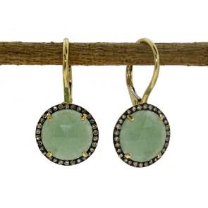 Green Aventurine and Brown Diamond Earrings