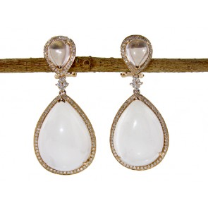 White Datolite and Diamond Earrings