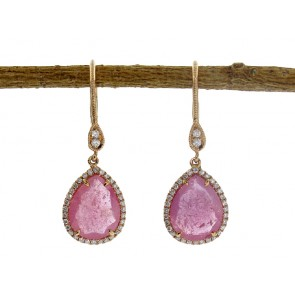 Rose Gemstone and Diamond Earrings