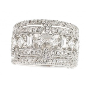 18K Baguette, Round and Princess Cut Band