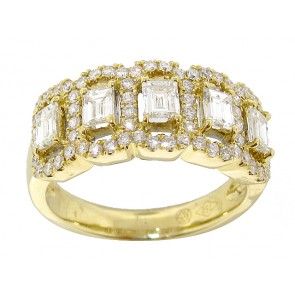 1.37CT Baguette and Round Diamond Anniversay Band