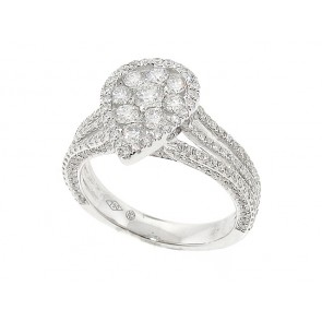 1.35CT Pear Shape Split Shank Diamond Cluster Ring