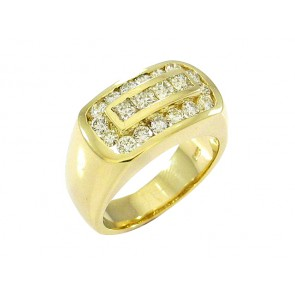 14K Princess and Round Diamond Mens Ring