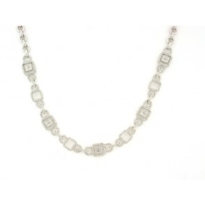 18K Square Motif Diamond Necklace