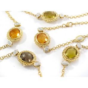 14K Diamond and Citrine Necklace