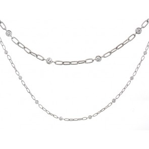 18K Hand Made Diamond Chain Necklace, 0.44ct