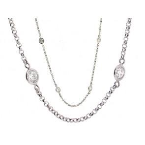 9 Bezel Set Round Diamond Chain