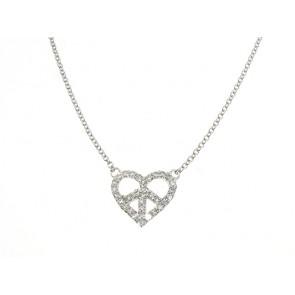Peace Sign Diamond Heart Necklace