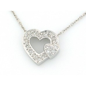 14K Double Diamond Heart Pendant