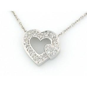 14K Double Diamond Heart Pendant