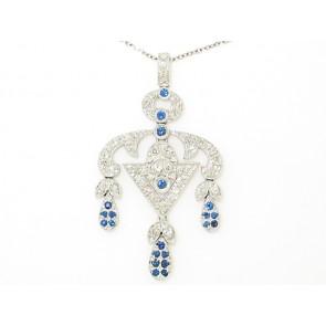 18K Diamond and Sapphire Pendant