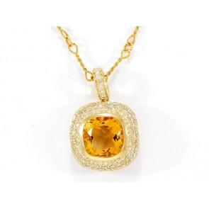 14KY Citrine and Diamond Pendant