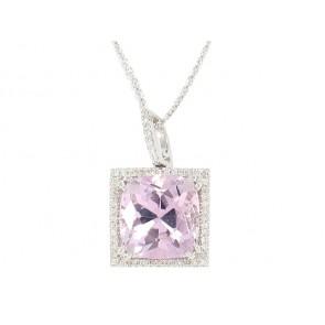 18K Kunzite and Diamond Pendant