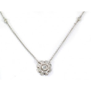 18K Diamond Drop Flower Necklace