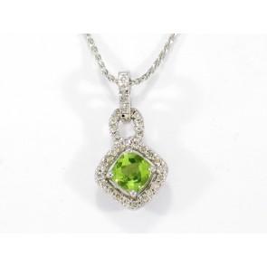 18K Peridot and Diamond Pendant