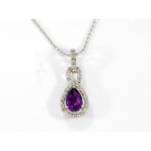 18K Amethyst and Diamond Pendant