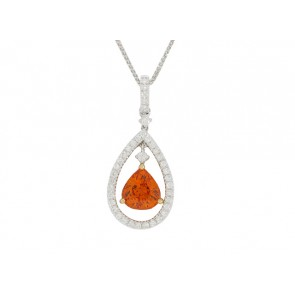 18K Mandarin Garnet and Diamond Pendant