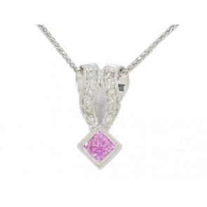 18K Pink Sapphire and Diamond Pendant