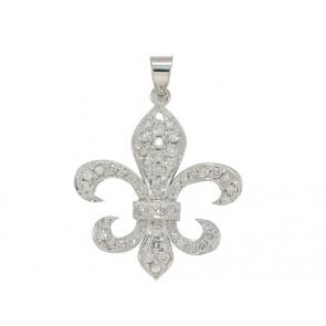 14K Fleur De Lis Diamond Pendant