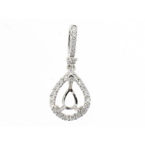 18K Pear Shape Sem-Mount Pendant
