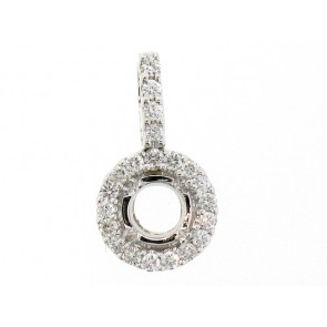 18K Round Diamond Semi-Mount Pendant